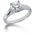 Solitaire i palladium med rund, brillantslebet diamant (1ct)