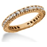 Eternity-ring i rødguld med runde, brillantslebne diamanter (ca 0.9ct)