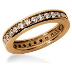 Eternity-ring i rødguld med runde, brillantslebne diamanter (ca 0.87ct)