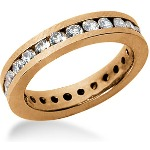 Eternity-ring i rødguld med runde, brillantslebne diamanter (ca 1.25ct)