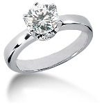 Solitaire i palladium med rund, brillantslebet diamant (1.25ct)