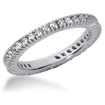 Eternity-ring i palladium med runde, brillantslebne diamanter (ca 0.57ct)  Stl 52 / 16,6 mm