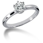 Solitaire i platin med rund, brillantslebet diamant (0.5ct)  Stl 53 / 16,9 mm