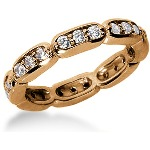 Eternity-ring i rødguld med runde, brillantslebne diamanter (ca 0.72ct)