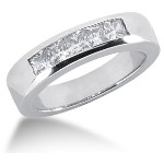 Femstens alliancering i platin med  diamanter (0.6ct)