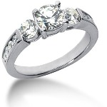 Sidestensring i palladium med 13st diamanter (1.7ct)
