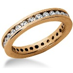 Eternity-ring i rødguld med runde, brillantslebne diamanter (ca 0.84ct)