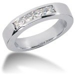 Femstens alliancering i platin med  diamanter (0.5ct)