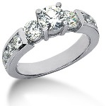 Sidestensring i palladium med 11st diamanter (1.99ct)