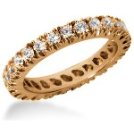 Eternity-ring i rødguld med runde, brillantslebne diamanter (ca 1.3ct)