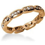 Eternity-ring i rødguld med runde, brillantslebne diamanter (ca 0.3ct)