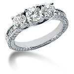 Sidestensring i palladium med 9st diamanter (1.32ct)