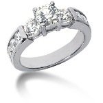 Sidestensring i palladium med 11st diamanter (1.4ct)
