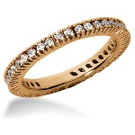 Eternity-ring i rødguld med runde, brillantslebne diamanter (ca 0.57ct)