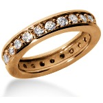 Eternity-ring i rødguld med runde, brillantslebne diamanter (ca 1.2ct)