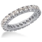 Eternity-ring i platin med runde, brillantslebne diamanter (ca 1.3ct)