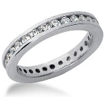Eternity-ring i platin med runde, brillantslebne diamanter (ca 0.84ct)