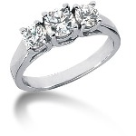 Trestensring i platin med  diamanter (1ct)