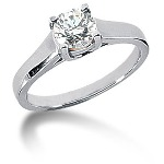 Solitaire i palladium med rund, brillantslebet diamant (0.75ct)